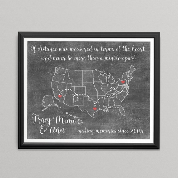 Personalized Long Distance Friendship -Long Distance Relationship  Best Friends Perfect gift for Friends Sisters Bridesmaids & Maid of Honor