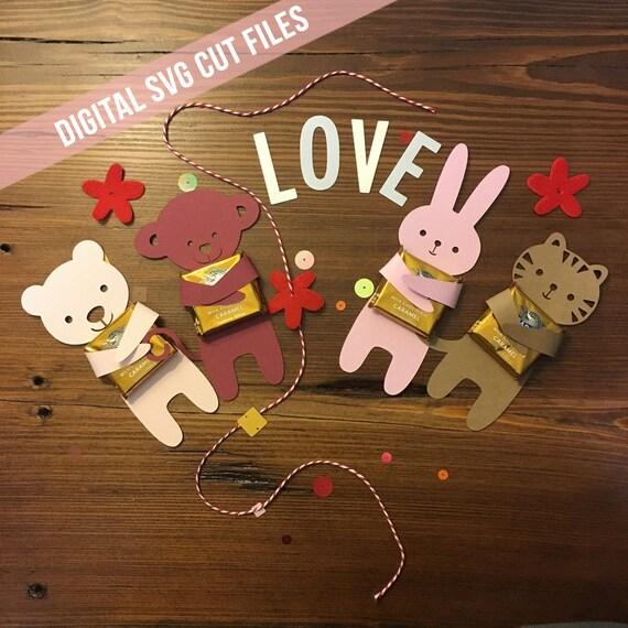 Valentine SVG - Candy Hugger - Valentines Day SVG - DIY Valentine Gift - Candy Holder - Silhouette Svg Cutting Files - Kids Valentine Gift