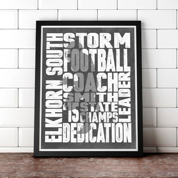 Lacrosse Football or ANY Sport or High School College Club -PERSONALIZED Word Art Print - Add Your Player or Club's Details Great Coach Gift