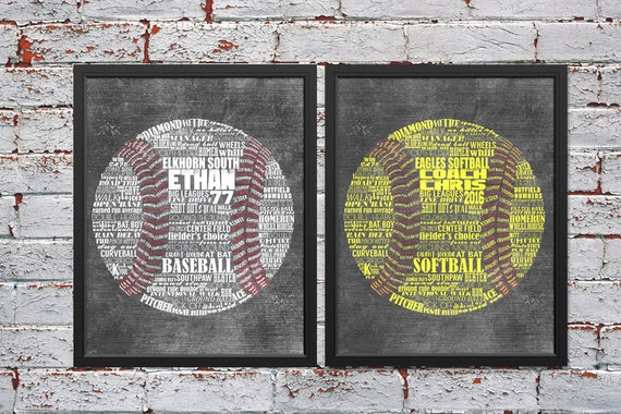 BASEBALL Gift - SOFTBALL Gift - PERSONALIZED Baseball Coach Gift - Softball Coach Gift - Baseball Wall Art - Softball Wall Decor - Team Gift