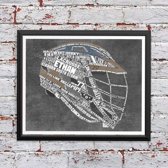 LACROSSE Gifts - PERSONALIZED Lacrosse Helmet Artwork - Printed or Printable - Lacrosse Coach Gift - Lacrosse Shirt - Lacrosse Wall Art