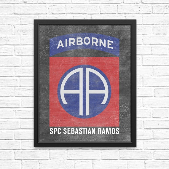 82nd Airborne Unit Insignia Chalkboard Artwork - Personalized with your Soldier's Name and Rank! Army Gifts Army Mom Army Wife Soldiers Gift