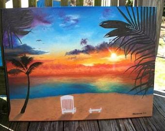 """Sunset veiw 18"""" x 24"""" oil"""
