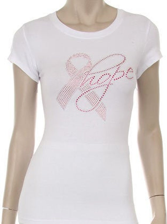 Breast Cancer Awareness Hope Ribbon Support Rhinestone Hot Fix Iron On Transfer