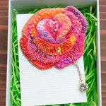 rose embroidery brooch