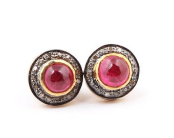 1 Pair Pave Diamond Beautiful Ruby Stone Stud -- 925 Sterling Vermeil Round Shape Stud Earring 11mm ED031