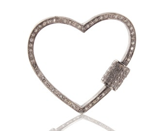 7d76ff4a88 1 Pc Pave Diamond Heart Lock- 925 Sterling Silver- Diamond Heart Lock with  Screw On Mechanism 30mmx32mm PD723