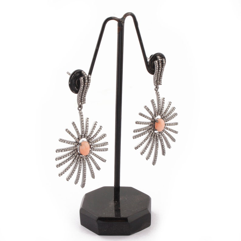 1 Pair Pave Diamond-Pink Opal With Beautiful Spider Web Earrings-925 Sterling Silver-Earrings 44mmx29mm-18mmx6mm ED296