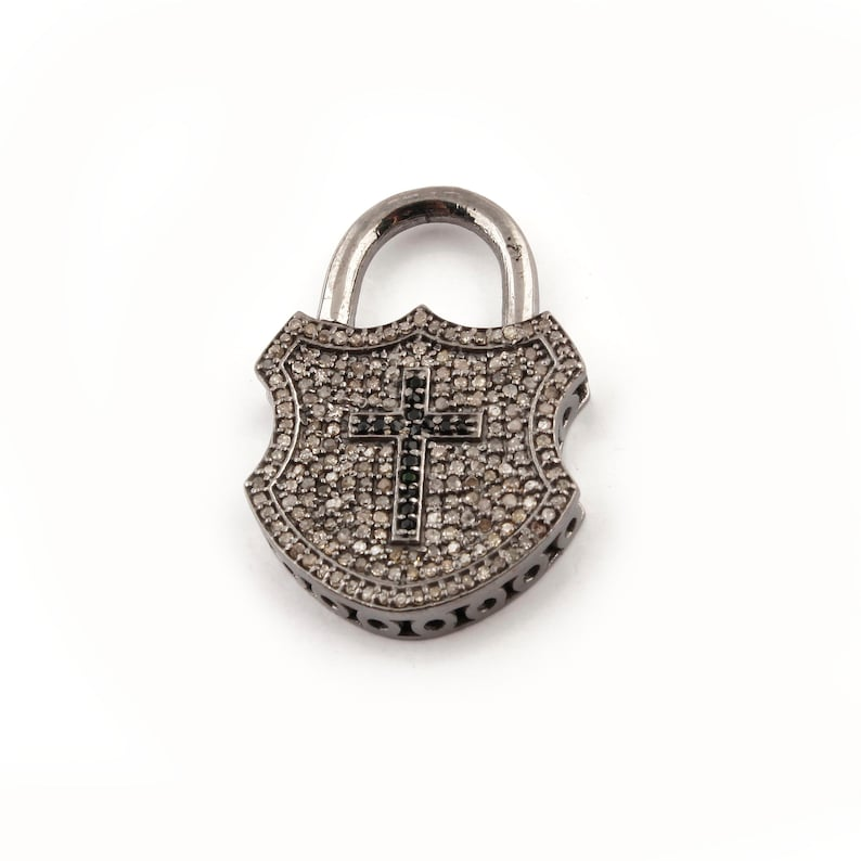 1 Pc Genuine Pave Diamond With Black Spinel Lock Charm With Cross Pendant Over 925 Sterling Silver 34mmx22mm PD301