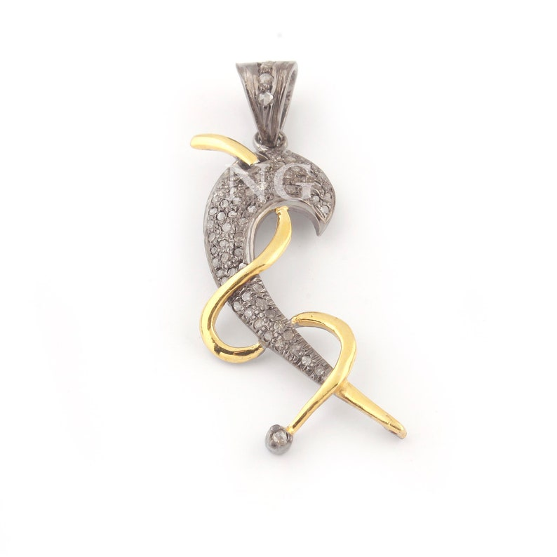 1 Piece Beautiful Pave Diamond with Fancy Pendant  925 Sterling Vermeil 36mmx12mm PD839