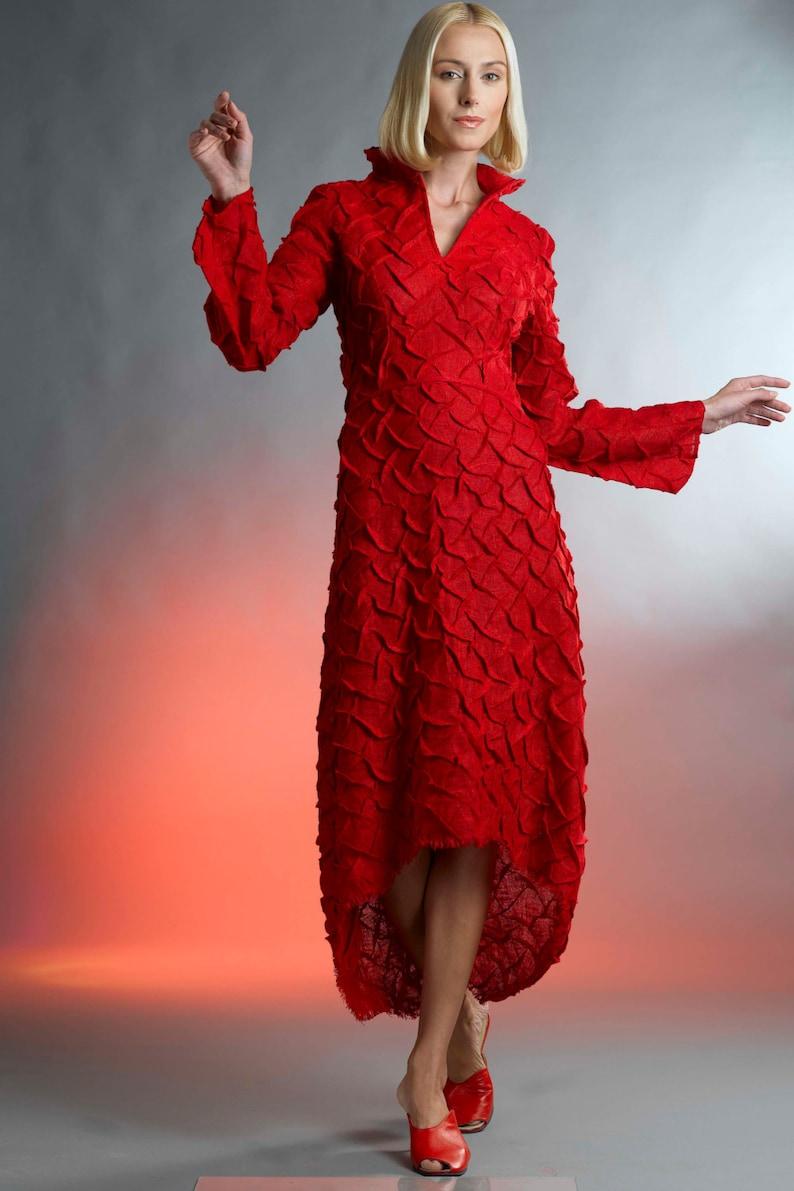timeless design 2af60 a0951 Rotes Kleid / Leinen Kleid / Abendkleider / Langarm Kleid / Gelegenheit  Kleider / Cocktailkleider / Custom Kleid / elegante Kleider /