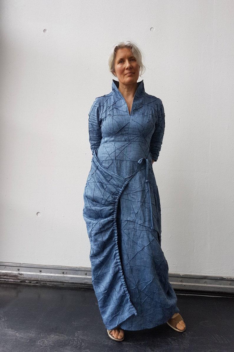 timeless design 9ea07 50e9e Blaues Leinen Kleid / langes Kleid für Frauen / Leinen Kleid / böhmischen  Kleid / Leinen Kleidung / Kleider für Frauen / Boho Kleid / Fee Kleider