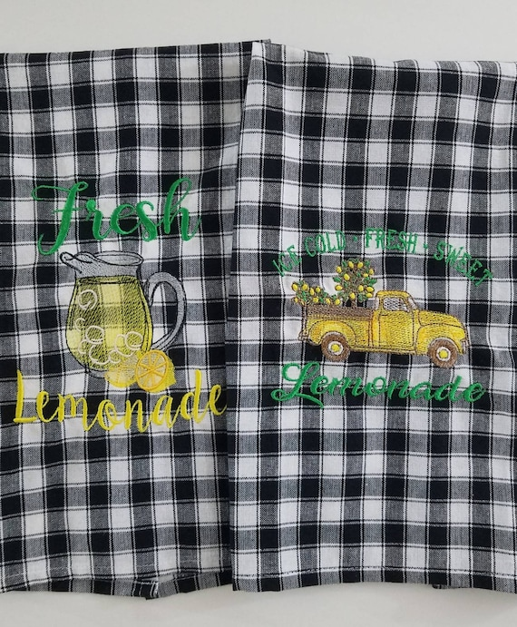Lemon kitchen towels, Embroidered black and white buffalo plaid, Farmhouse  tea towel lemonade and pickup truck. Set of 2 gingham dish towels