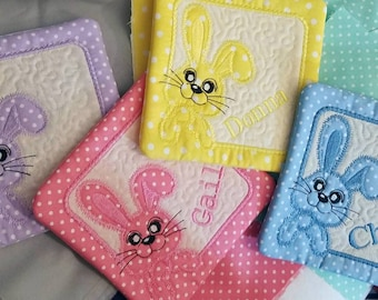 Easter Bunny quilted fabric coasters set of 4 mug rugs -  party favors  hostess gift holiday table decor embroidered personalized with names