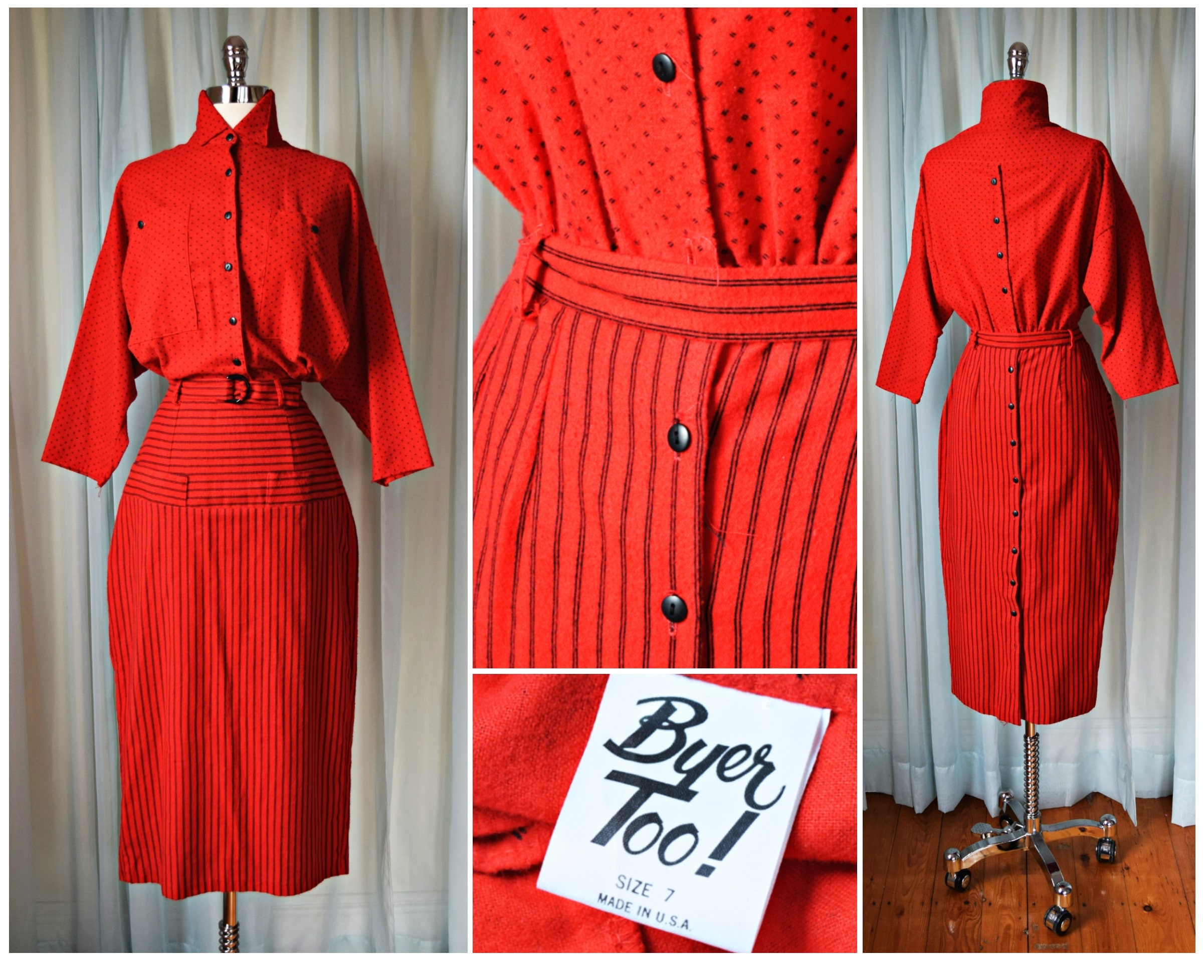 d465c49b12 Vtg 1980s Byer red and black pinstripe flannel dress L M