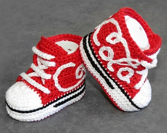 Red baby shoes, soft sole baby shoes, baby boy crochet shoes, baby sock shoes, baby boy crochet shoes, crochet baby shoes