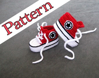 77aab2308dc6 Crochet Converse PATTERN for Red crochet baby shoes