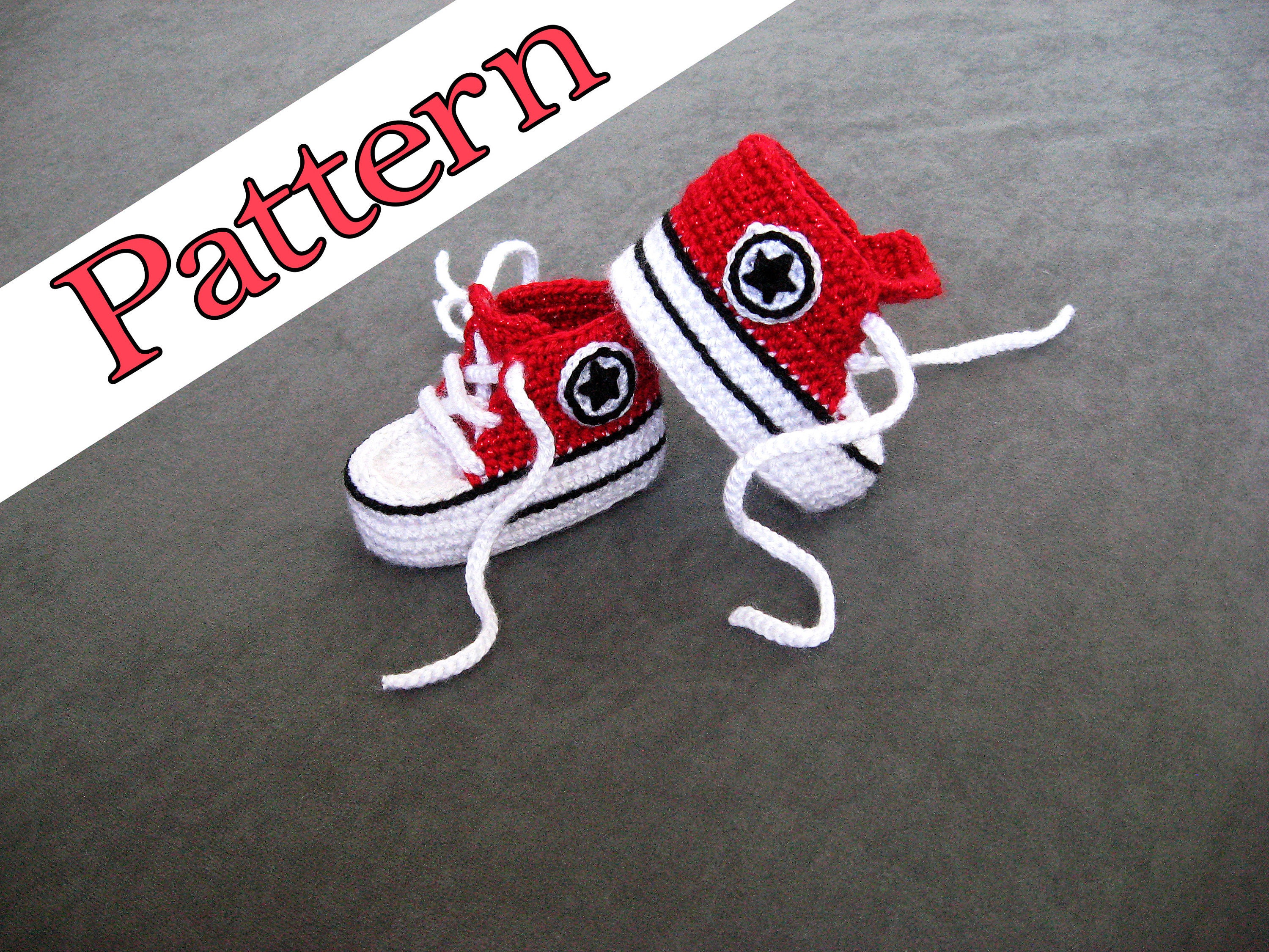 Crochet Converse Pattern For Red Crochet Baby Shoes These Are Etsy
