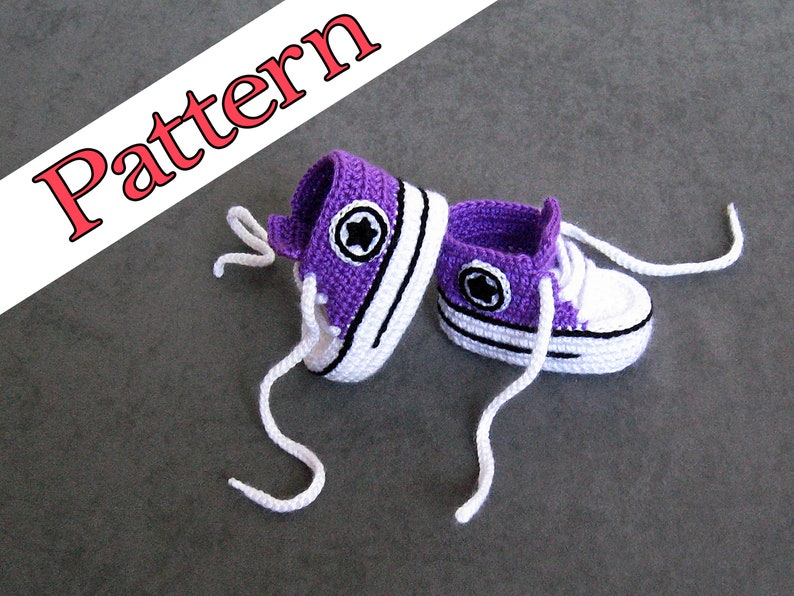 64601c33b0cf Crochet Pattern Baby Converse Shoes these are Violet crochet