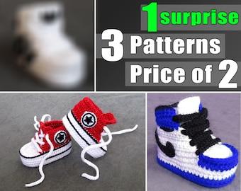 Crochet Baby Shoes Pattern, Doll Shoes, Bundle Pack 3 in 1, Crochet Converse, Crochet Jordan, Pattern Of Surprise