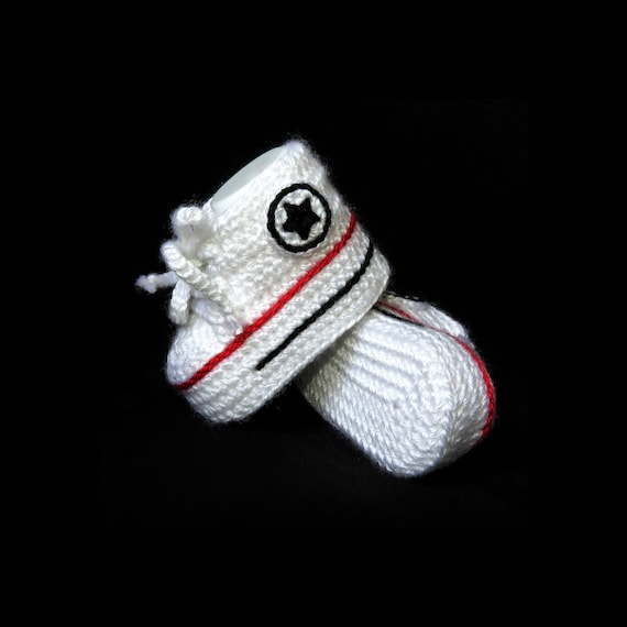 3a9bbff3a4d83 Baby Booties Crochet Converse High Top with soft sole, WHITE crochet baby  converse shoes perfect for unique newborn baby gift