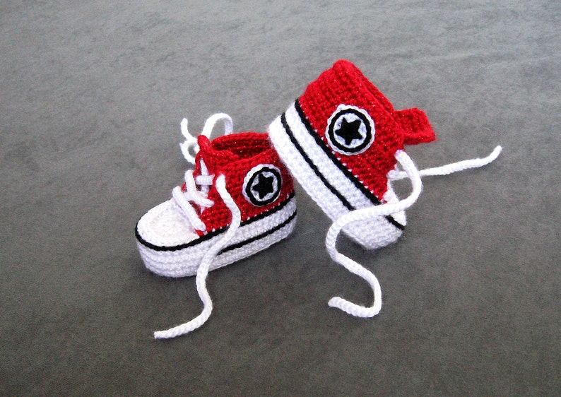 Crochet Converse High Top With Soft Sole Baby Shoes Red Etsy
