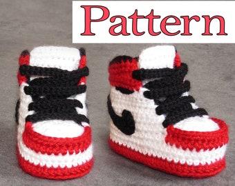 Crochet booties pattern, baby booties pattern, cute crochet pattern for baby shoes - jordan model