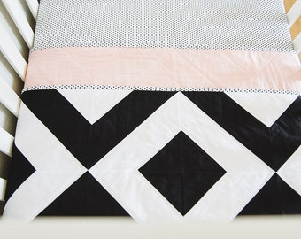 """Modern Baby Quilt. Bold Black and White, Graphic Geometric Quilt. """"The Grace"""" with a Soft Pink Backing. Quilted Baby. Baby Girl Quilt."""