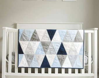 """Triangle Baby Quilt. Modern Baby Blanket. Heirloom Quilt for Baby, Toddler. """"The Mason"""". Blue and Grey Hues. Triangle Quilt for Baby Boy"""