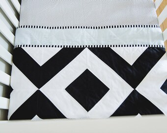 """Modern Baby Quilt. Bold Black and White, Graphic Geometric Quilt. """"The Henry"""" with a Soft Blue Backing. Quilted Baby. Baby Boy Quilt."""