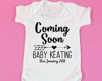 Birth announcement idea Coming soon Personalised Baby announcement Pregnancy gift Baby vest Baby Announcement gift for him gift for her