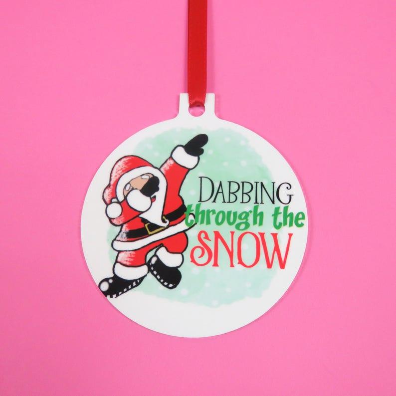 4d35bda9cae6 Dabbing through the snow santa decoration dabbing santa Bauble