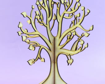Beautiful Lasercut Wooden Freestanding 3D Tree With Heart Shaped Leaves ~ craft tree ~ wishing tree ~ wedding decor ~ guest book
