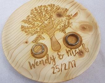 Personalised Wooden Tree Ring Tray ~ Engagement Proposal Marriage ~ Laser Engraved ~ Ring Bearer Wedding Gift Ring Holder Wedding Keepsake