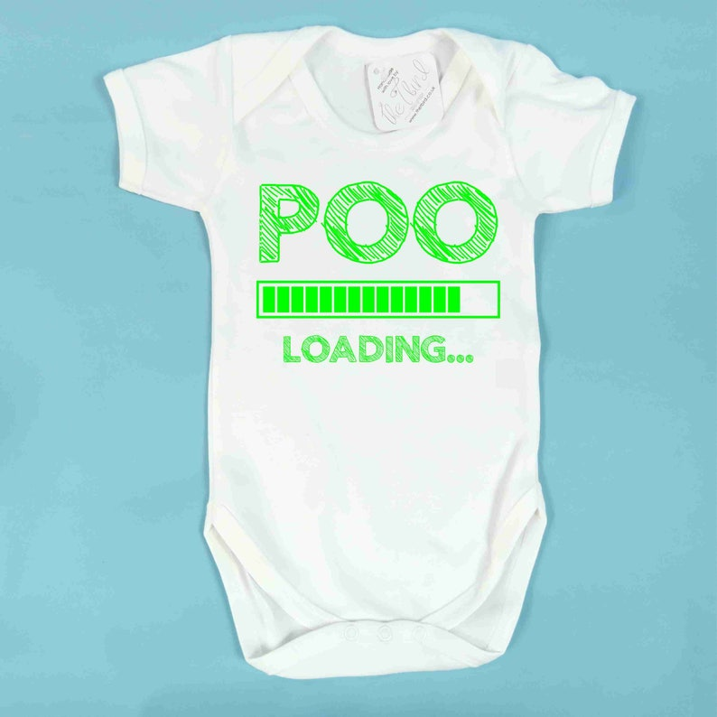 Poo Loading Babyvest Baby Shower Poop Gift Newborn Baby Present Cute Cry Nappy Joke Present Humour Baby vest Funny baby present