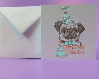 Birthday Pugs and Kisses bday Pug card Pug Lover Pug Gift Dog Lover Elf Pug Birthday