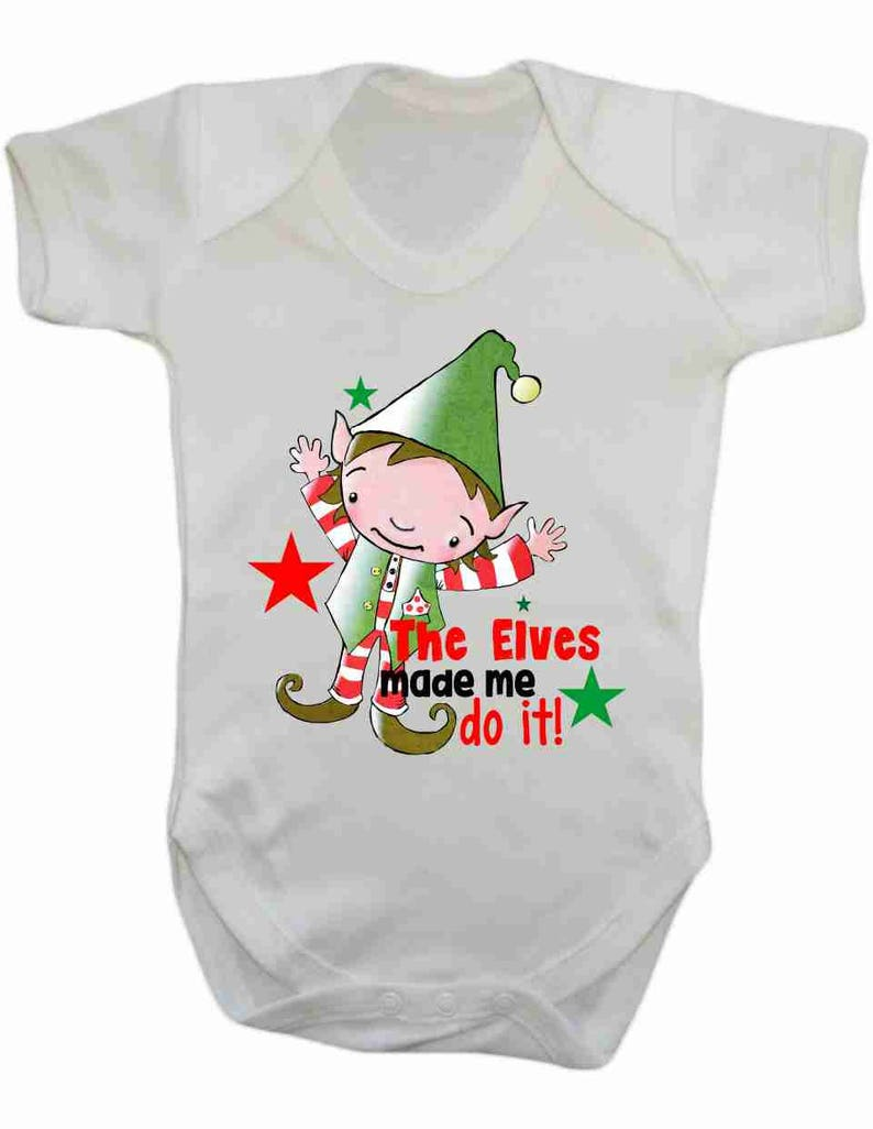 Elf Baby Vest Christmas Jumper Christmas Present The elves made me do it Xmas Gift Xmas Rustic Traditional
