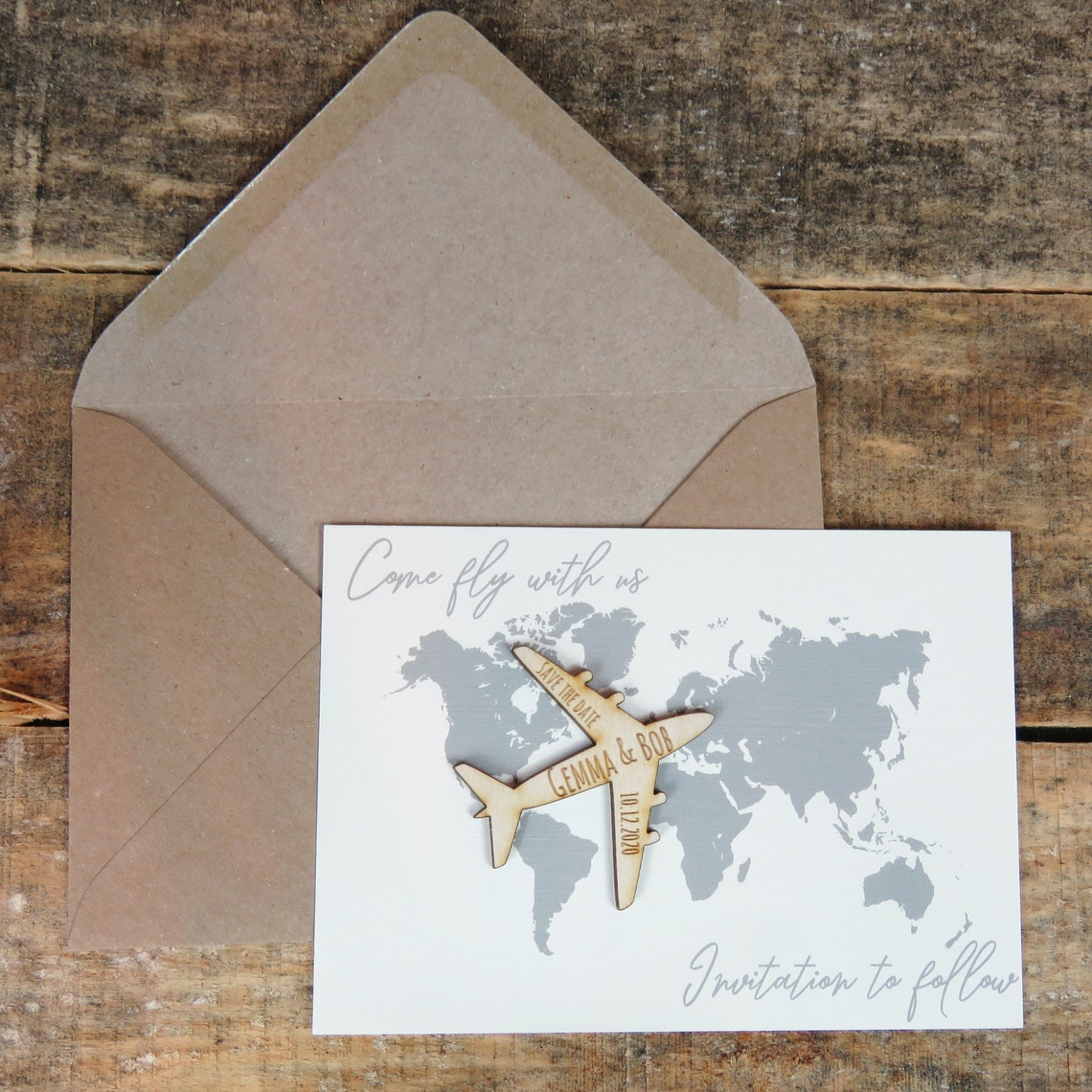 Wooden plane Save The Date Magnets Wooden Magnets Gender-Neutral Wedding Cards and Invites