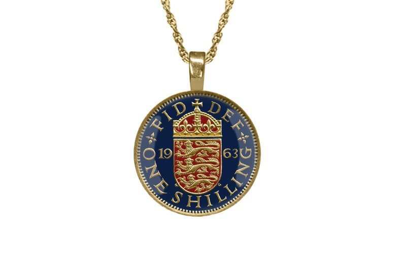 UK Coin Necklace British Shilling Pendant Hand Enamelled Gold Jewellery