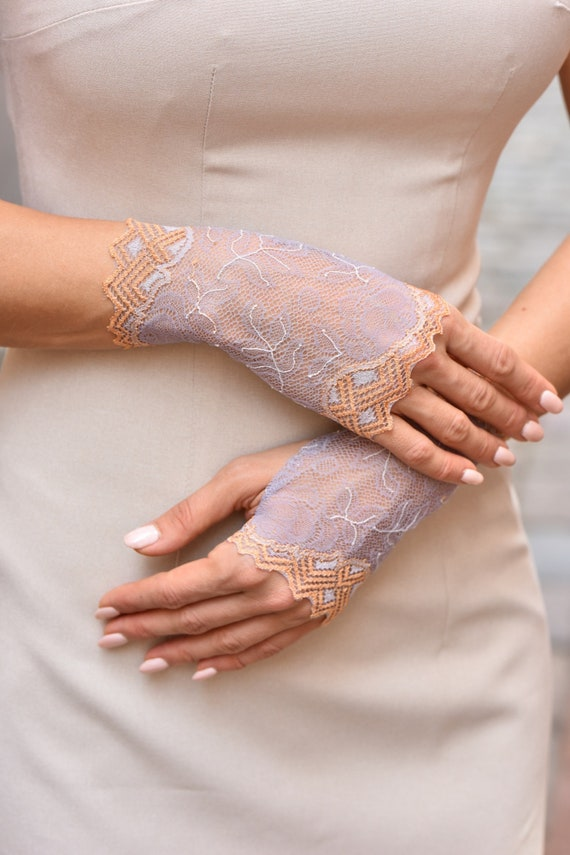 woman gloves long gloves, Lace gloves Fingerless Gloves lace Lilac and grey gloves