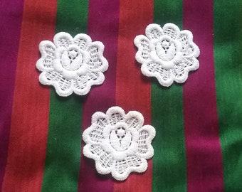 Layered embroidered cotton flower by natashascrapbookorner on zibbet