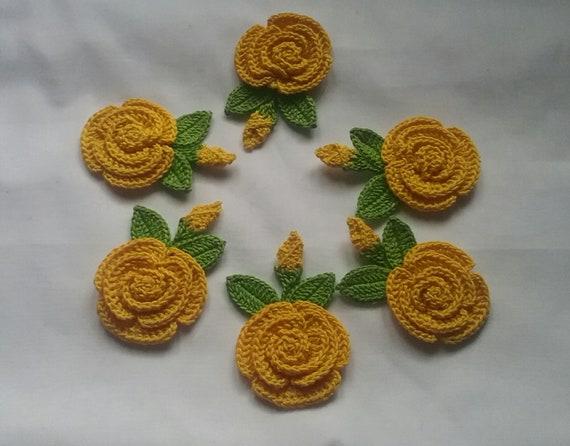 6 Gelbe Crochet Blume Applikationen Häkeln Für Cardmaking Etsy