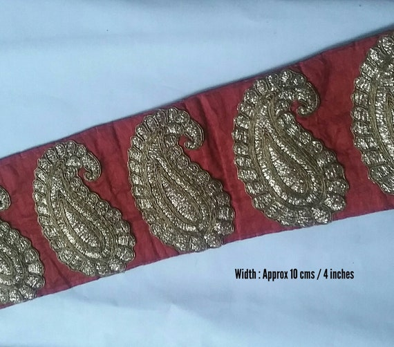 172143fe3b Silk Wine Red Paisley Lace Trim with gold embroidery lace trim
