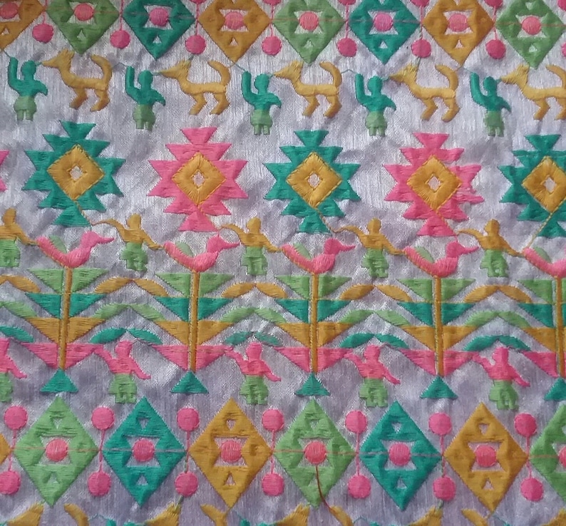 White Embroidered fabric Raw Silk Embroidered Fabric Half Yard