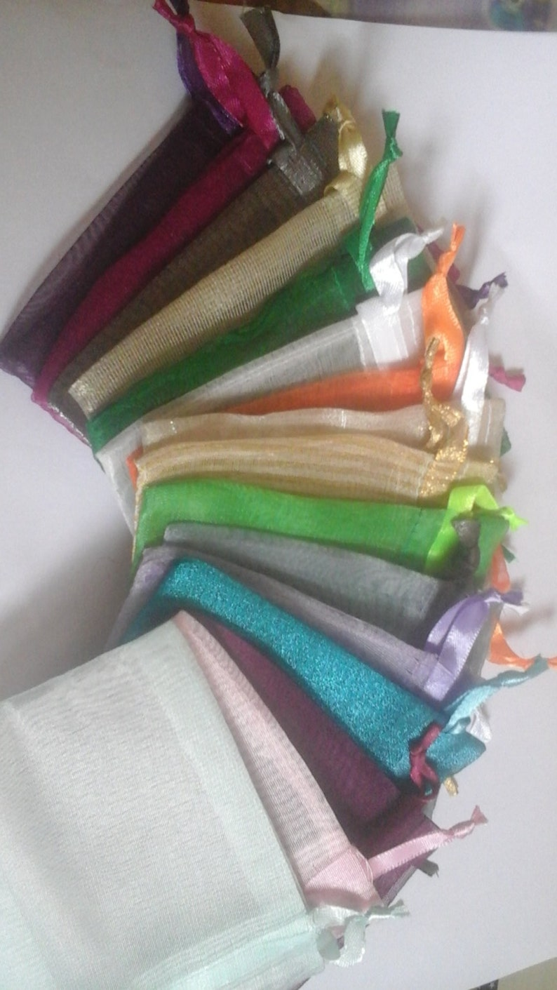 50 Organza Bags 3 x 4 Assorted Colors favor bags wedding packaging beads herbs