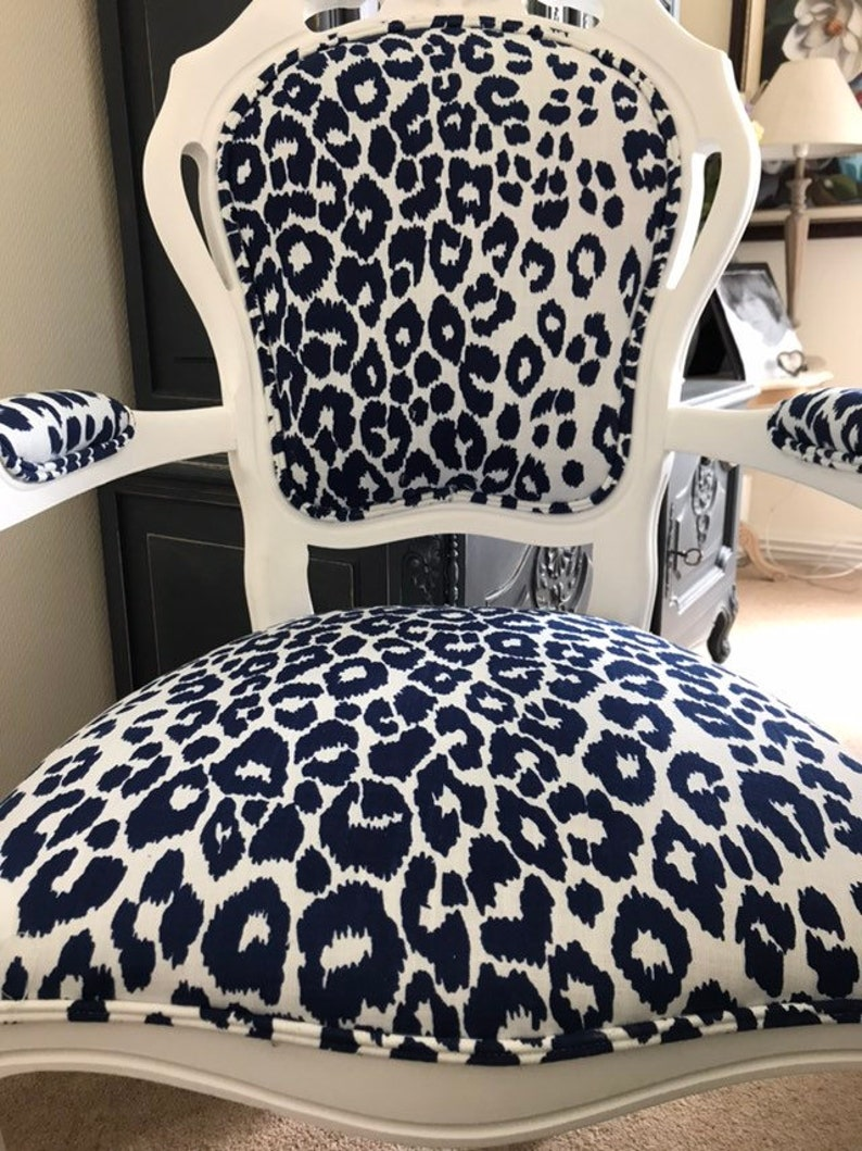 French Style Navy Linen Leopard Print Arm Chair