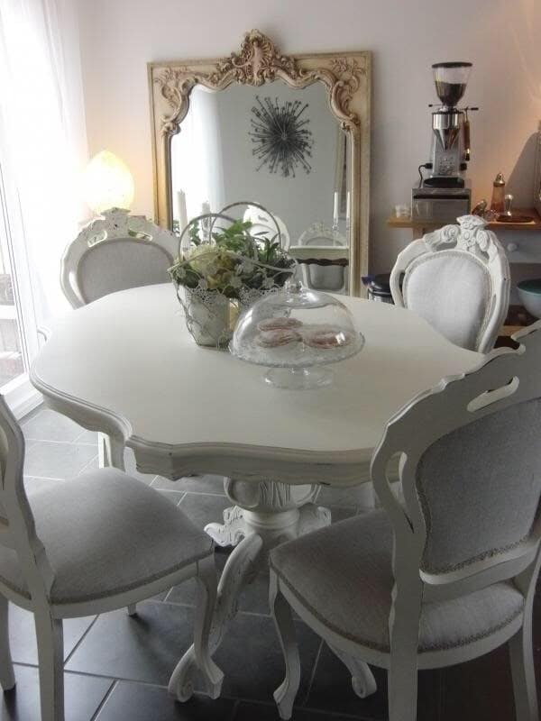 Shabby Chic French Style Dining Table and 6 Dining Chairs ...