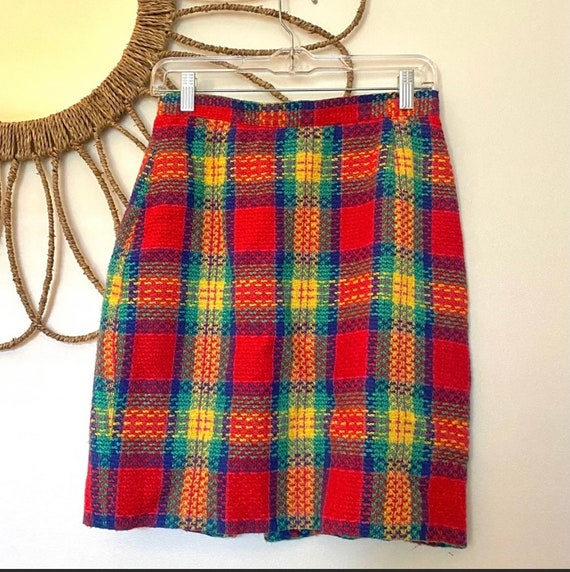 Vintage Rainbow Plaid Tweed Skirt