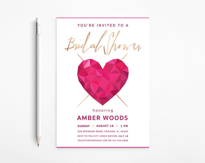 Modern Heart Bridal Shower Invitation, Pink, Fuschia, Gold, Bachelorette, Geometric - Faceted, Printable