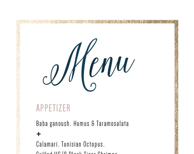 White & Gold Menu, Dusty Rose, Foil, Pink, Pattern, Dark Blue, Navy, light grey, Marble, Printable